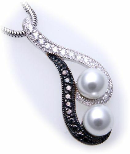 Anhänger Zuchtperlen Zirkonia schw weiß echt Silber 925 Sterlingsilber Unisex