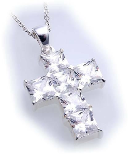 Anhänger Kreuz Zirkonia Carree´echt Silber 925 38 mm Sterlingsilber
