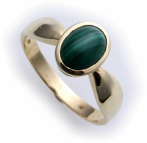 Damen Ring echt Malachit 8x6 echt Gold 585 Zarge Gelbgold
