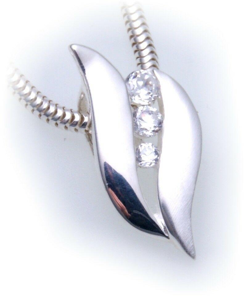 exkl. Anhänger echt Silber 925 mit Zirkonia teilmatt Qualität Sterlingsilber Neu
