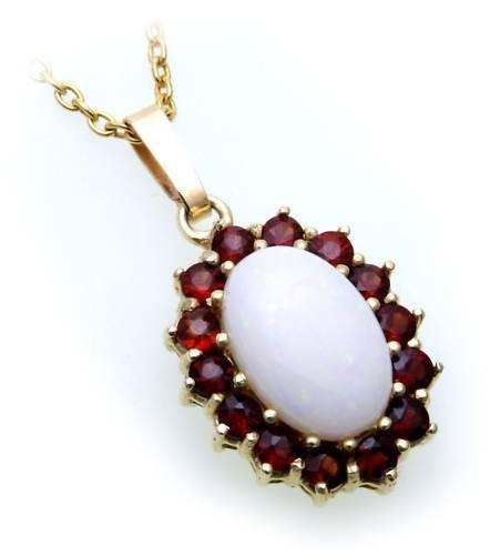 Anhänger m. Granat echt Opal Gold 333 Granatanhänger Gelbgold Damen