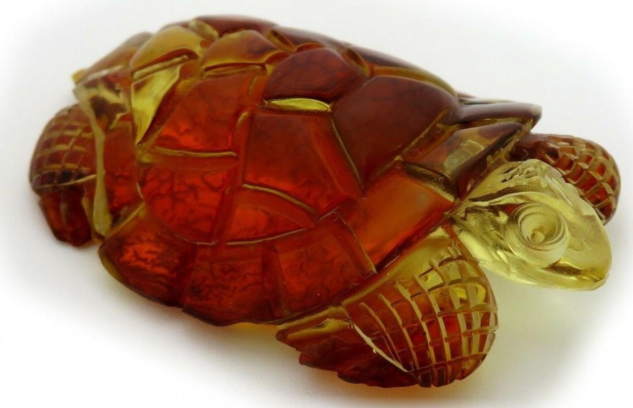 Figur Schildkröte echter Bernstein aus der Ostsee Handarbeit Meeresschildkröte