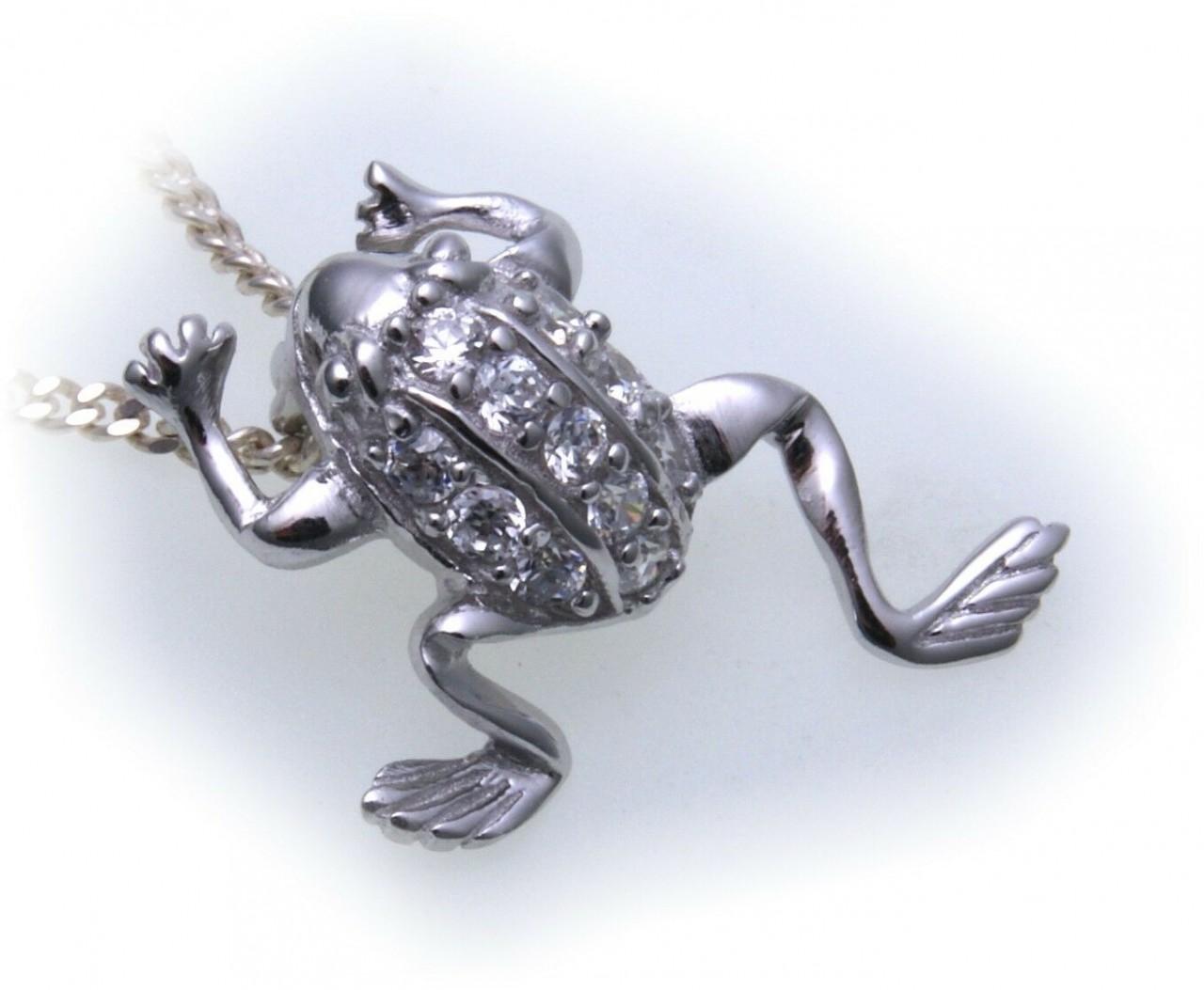 Anhänger Frosch echt Silber 925 mit Zirkonia Kröte Halsschmuck Sterlingsilber