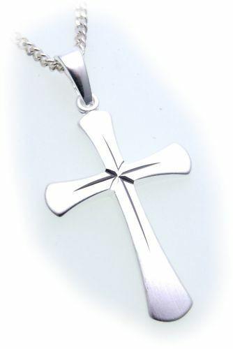 Anhänger Kreuz echt Silber 925 31 mm mattiert verziert Sterlingsilber Unisex