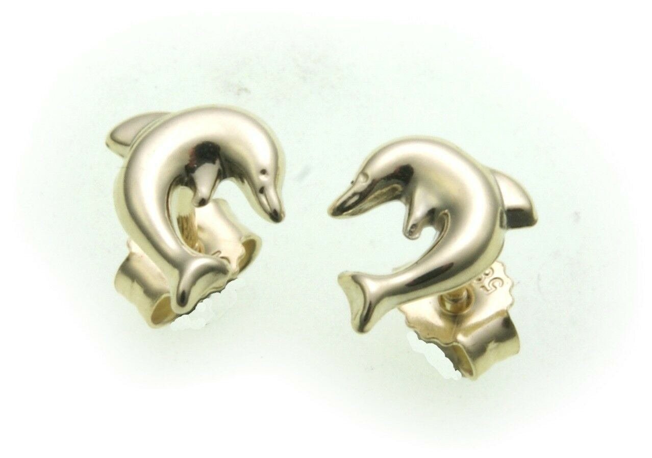 Kinder Ohrringe Ohrstecker Delfin 585 Gold Delphin Gelbgold Qualität Stecker