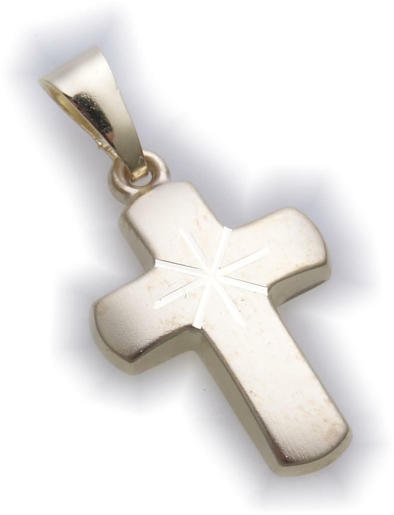 Anhänger Kreuz echt Gold 333 23 mm mattiert Stern Gelbgold Unisex