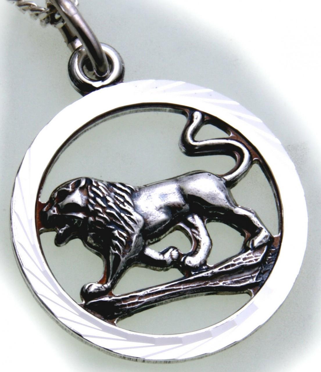 Anhänger Sternzeichen Löwe echt Silber 925 mit Kette Horoskop Sterling Qualität