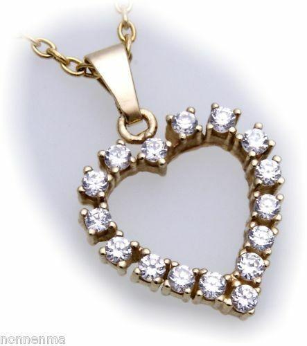 Anhänger Herz Gold 585 mit Zirkonia alle Steinarten Gelbgold Neu Damen