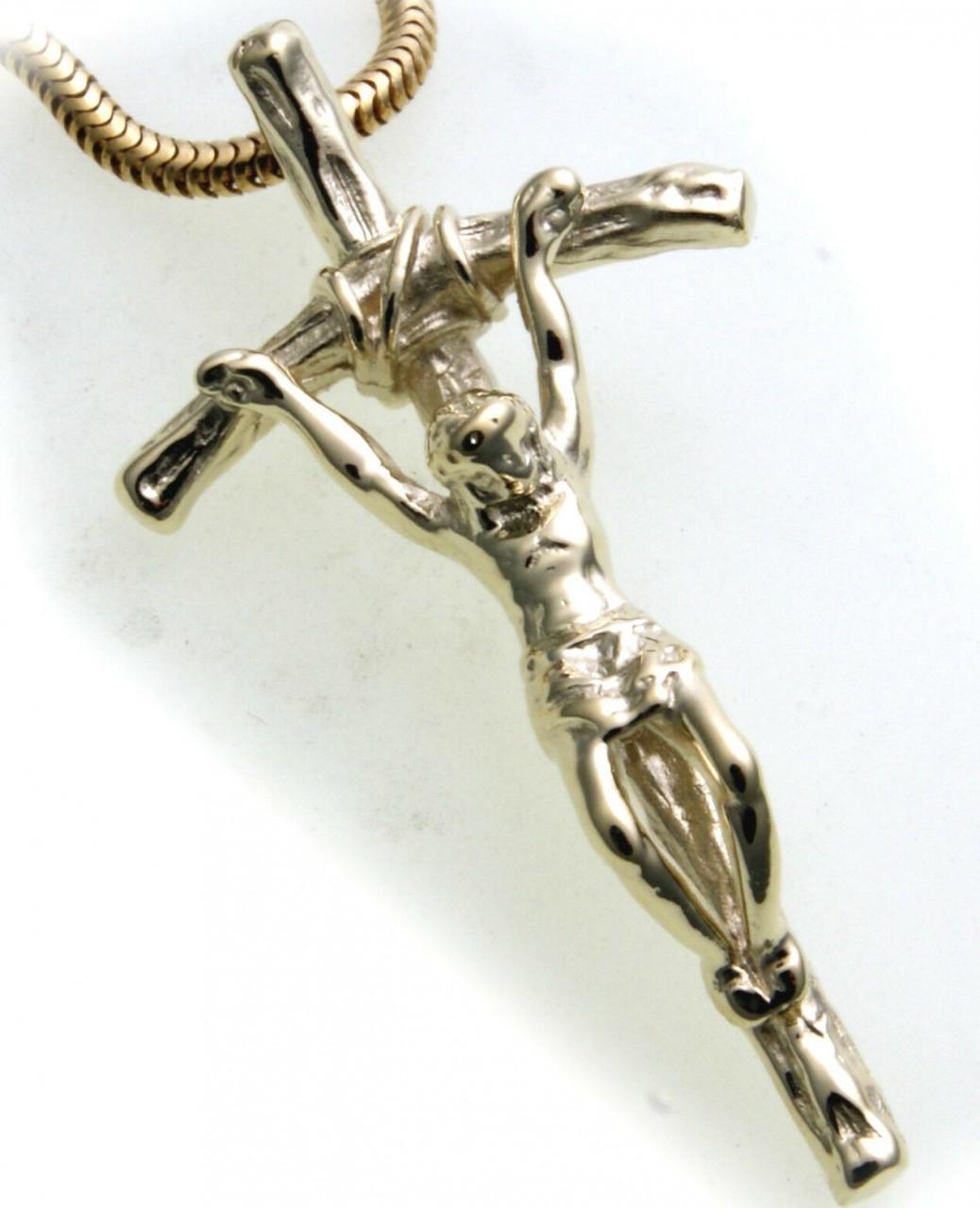 Anhänger Kreuz mit Jesus echt Gold 585 Gelbgold Unisex Top Qualität INRI