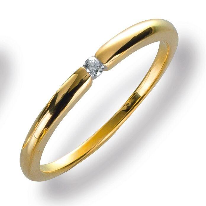 Damenring Ring Gelbggold 585 Brillant 0.03 ct. Gold Diamant Viola Luxury 20