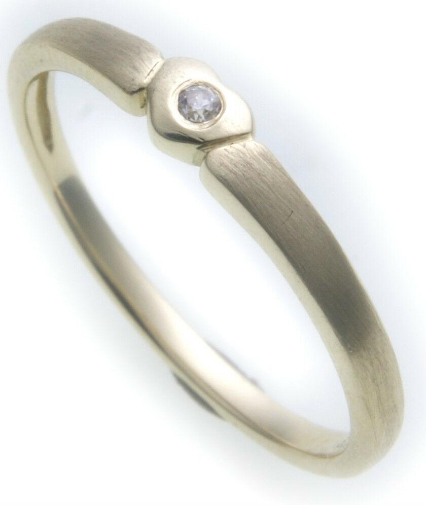 Damen Ring Herz Brillant 0,01 ct echt Gold 585 teilmatt 14kt Diamant Gelbgold SI