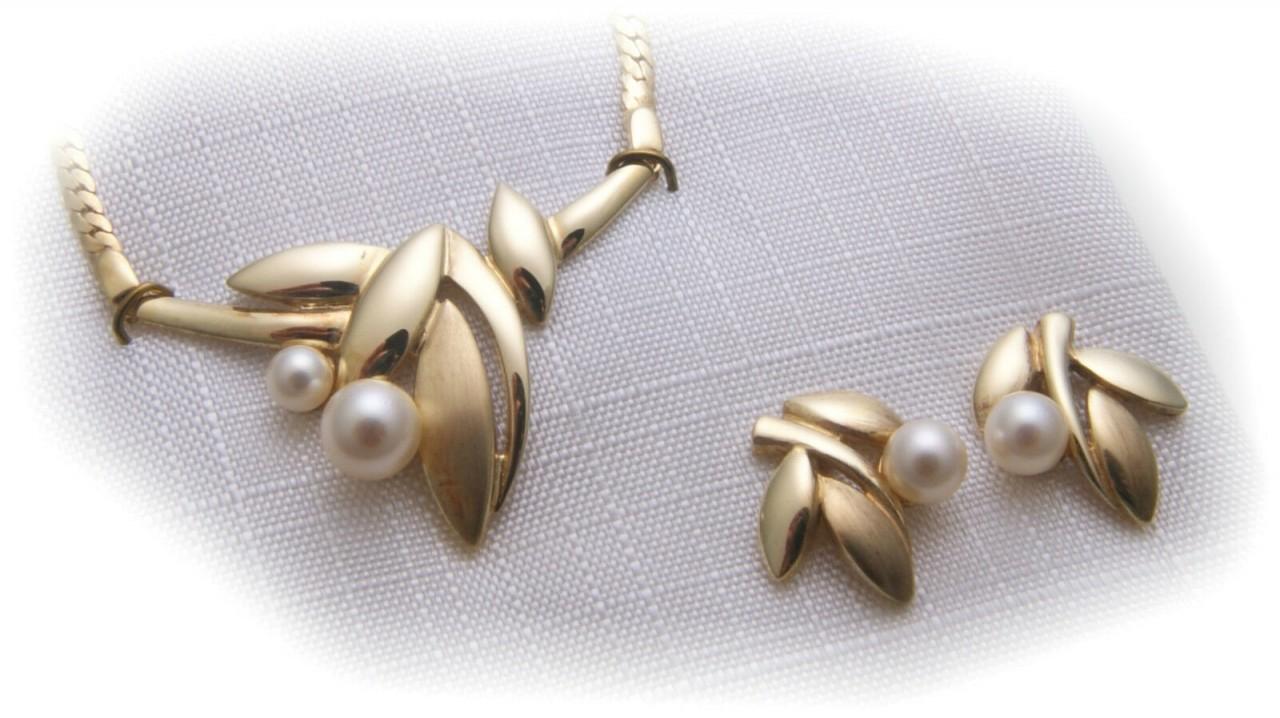 Set Collier Halskette und Ohrringe Perlen Double vergoldet 42 cm Zuchtperle Neu