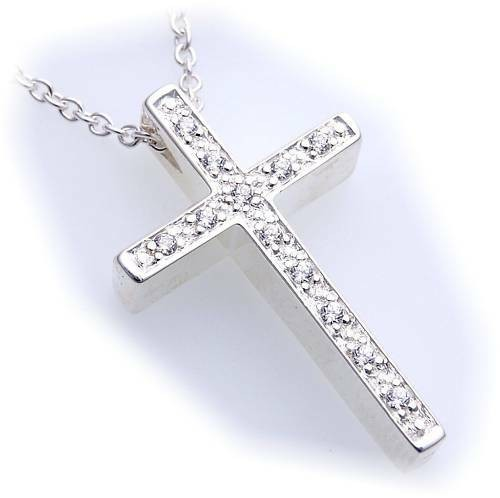 Anhänger Kreuz Zirkonia echt Silber 925 30 mm massiv Sterlingsilber