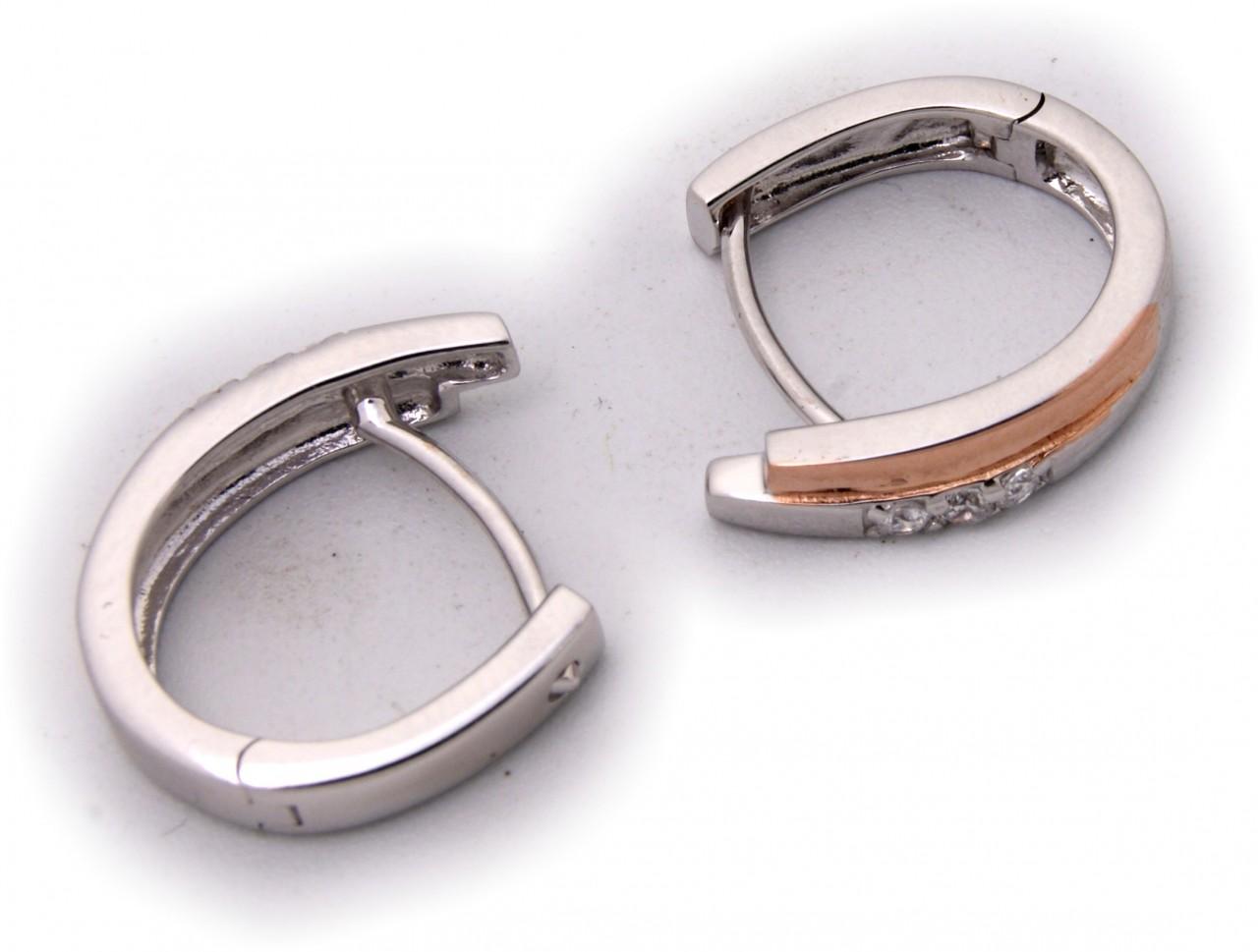 Kopie von Damen Ohrringe Klapp Creolen echt Silber 925 Sterlingsilber rot verg. Zirkonia