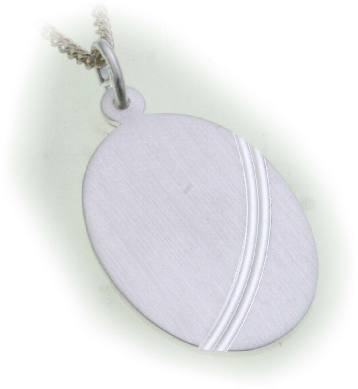 Anhänger Gravurplatte Oval echt Silber 925 ink Gravur matt Sterlingsilber Unisex