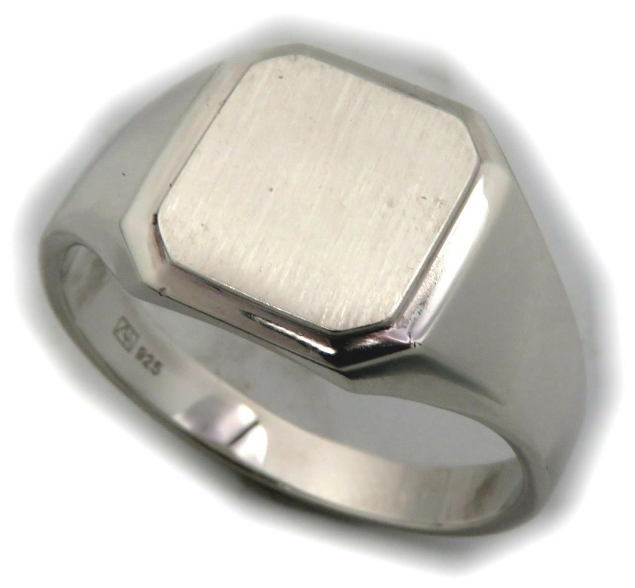 Neu Herren Ring Silber 925 mit Monogrammgravur Sterlingsilber Achteck Siegelring