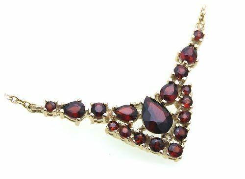 Collier Granat echt Silber 925 Halsschmuck Sterlingsilber Halskette Damen 4980/8