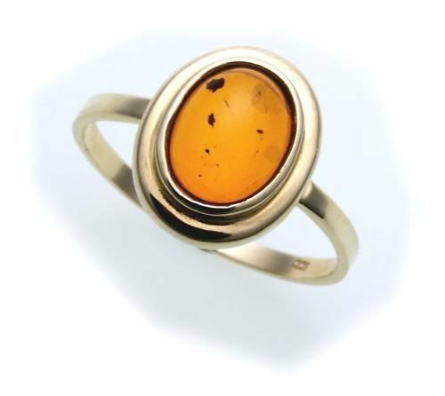 Damen Ring echter Bernstein aus de Ostsee echt Gold 585 Gelbgold 14k N8550 BE 5