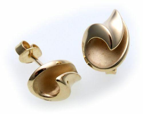 Damen Ohrringe Stecker echt Gold 375 teilmatt. Qualität Gelbgold BR2653