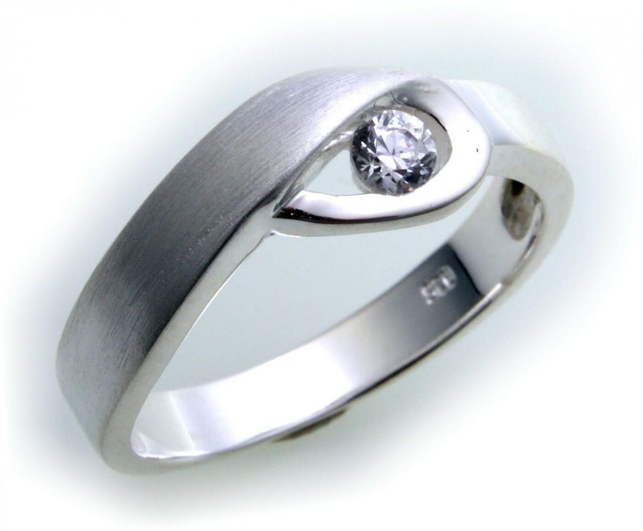 exkl. Damen Ring echt Silber 925 mit Zirkonia teilmatt Sterlingsilber