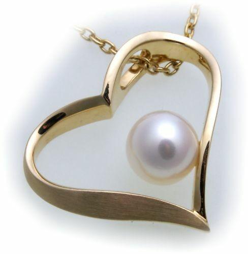 Anhänger Herz mit Perle echt Gold 585 Zuchtperle 14kt Gelbgold