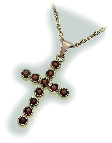 Kreuz m. Granat in Gold 333 Granatkreuz Anhänger Gelbgold Qualität Unisex 9004