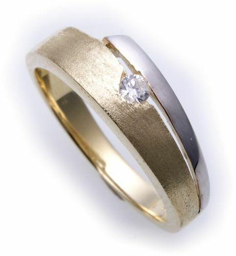 Damen Ring Gold 585 Zirkonia teilmatt.-rhod. Gelbgold Qualität 14kt