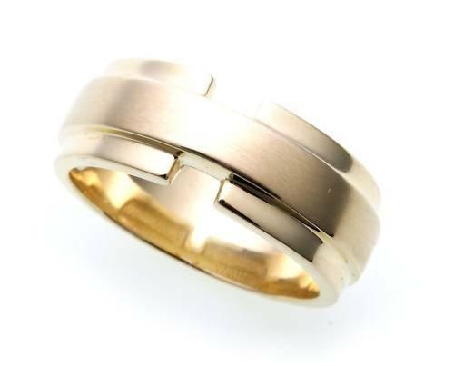 Herren Ring echt Gold 585 teilmattiert massiv Gelbgold 14kt Qualität Deutschland