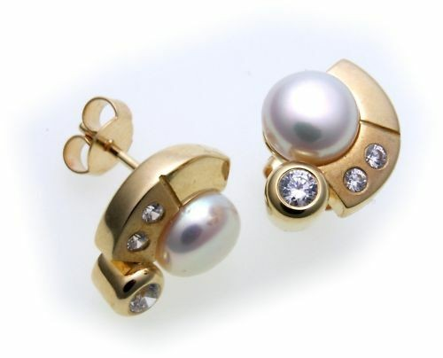 Damen Ohrringe Stecker Perlen 7 mm Zirkonia Gold 375 Perle Gelbgold Ohrstecker