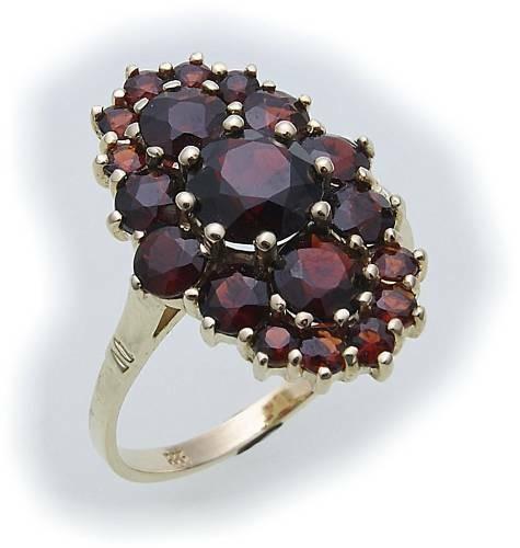 Damen Ring m. Granat in Gold 333 Granatring alle Weiten Gelbgold Qualität 8159/3