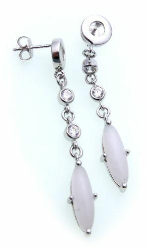 Damen Ohrringe Stecker Aragonit Silber 925 Zirkonia Sterlingsilber Ohrstecker
