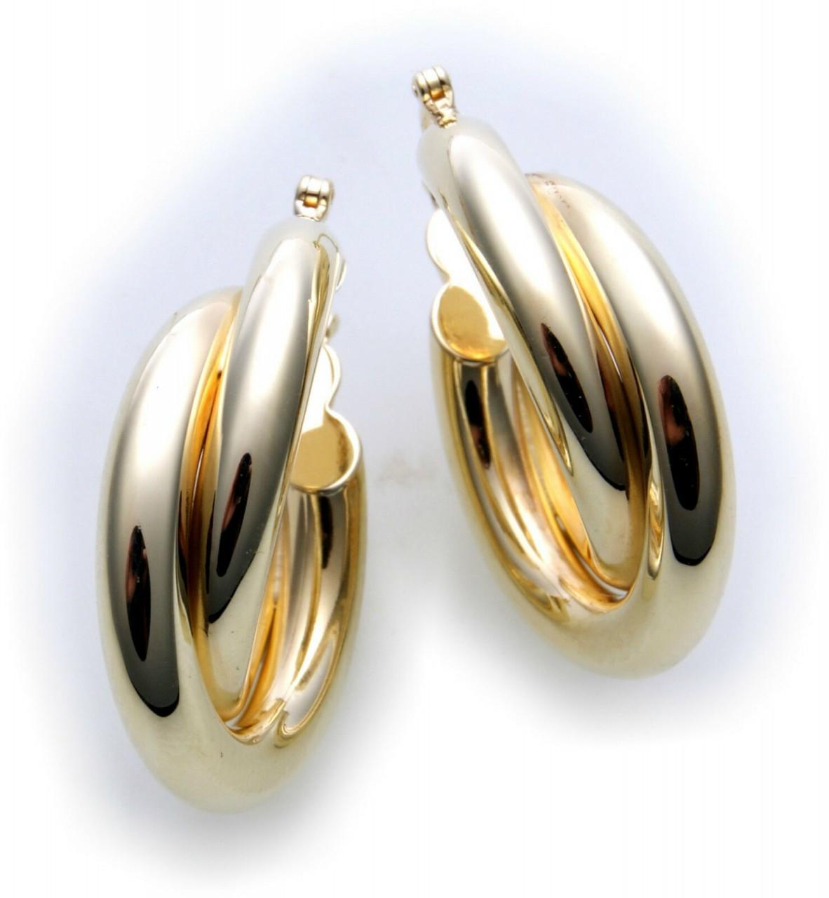 Sonderpreis Damen Ohrringe Klapp Creolen echt Gold 585 Gelbgold Qualität
