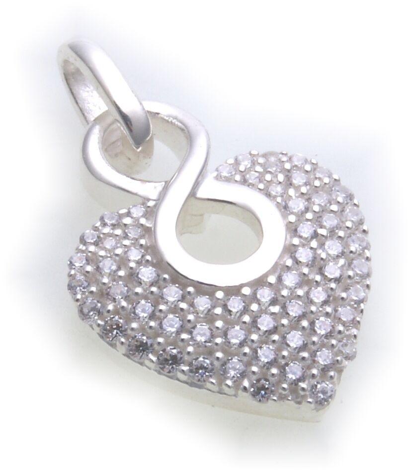 Anhänger Herz in Silber 925 Sterlingsilber mit Zirkonia Unendlichkeit