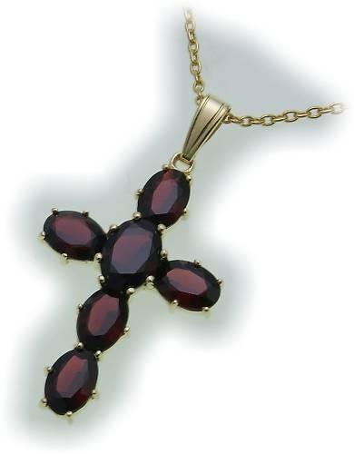 Kreuz m. Granat in Gold 585 Granatkreuz Anhänger Damen Gelbgold 9906