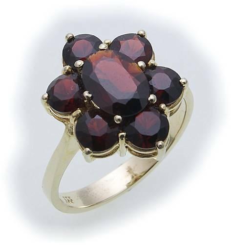 Damen Ring m. Granat in Gold 333 Granatring alle Weiten Gelbgold Qualität 8312/3