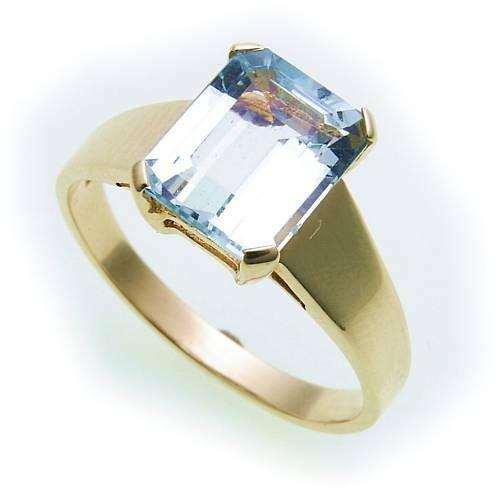 Damen Ring echt Aquamarin 10 x 8 Rechteck Gold 585 Gelbgold