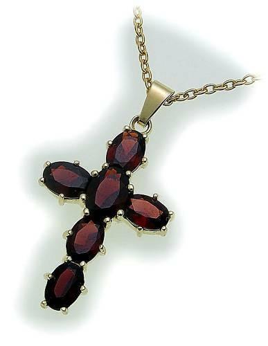 Kreuz Granat in Silber 925 Granatkreuz Anhänger Sterlingsilber Qualität Unisex1