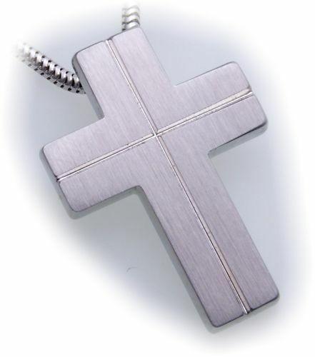 Anhänger Kreuz aus Edelstahl matt Sägeschnitt