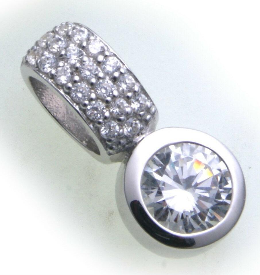 Damen Anhänger echt Silber 925 Zirkonia Sterlingsilber Halskette Qualität 45 cm