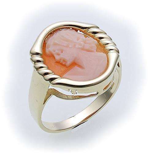 Damen Ring m. Muschelgemme Gold 585 Gelbgold Granatring Muschelkamee 8074/5GE