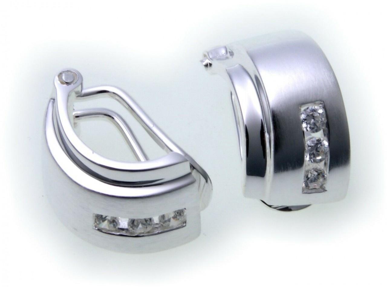 Damen Ohrringe Klapp Stecker Silber 925 Zirkonia Clip teilmatt Sterlingsilber