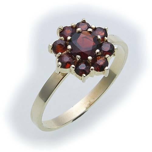 Damen Ring Granat Blume echt Silber 925 Granatring Sterlingsilber Qualität Neu
