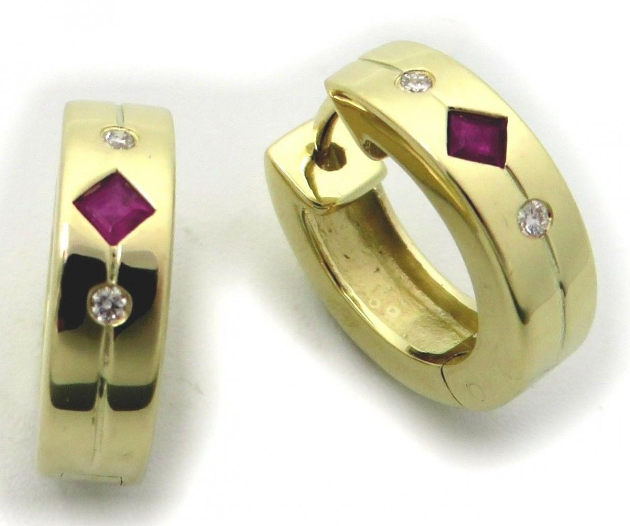 Neu Ohrringe Klapp Creolen Rubin Brillant 0,04 ct echt Gold 585 Gelbgold Diamant