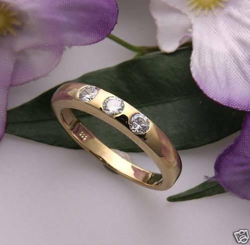 Damen Ring Gold 333 3 Zirkonia Gelbgold Qualität