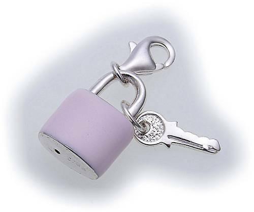 Charm Hängeschloß pink Silber 925 Bettelarmband Sterlingsilber Qualität