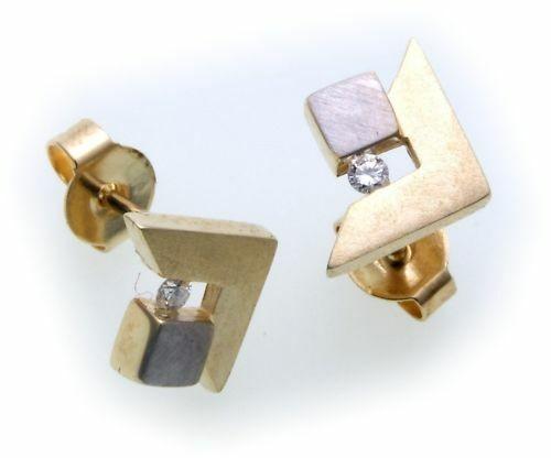 Damen Ohrringe Stecker Gold 585 Gelbgold Brillant 0,05 ct Ohrstecker Diamant