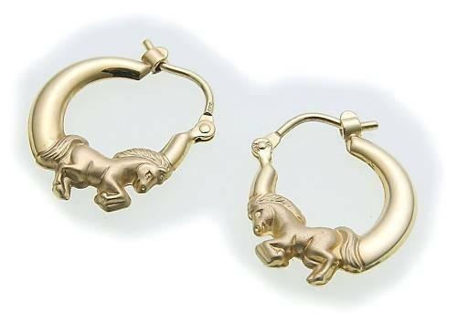 Kinder Ohrringe Klapp Creolen Pferd teilmatt. 333 Gold Gelbgold Qualität NEU