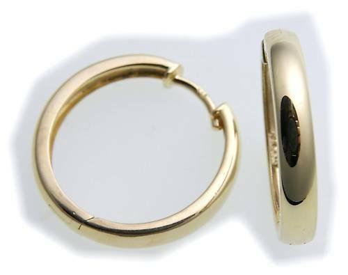 Damen Ohrringe Klapp Creolen echt Gold 585 gewölbt schwer 19 mm 14kt Gelbgold