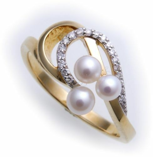 Damen Ring echt Gold 585 Brillant 0,10ct und Perlen Gelbgold Diamant Zuchtperle