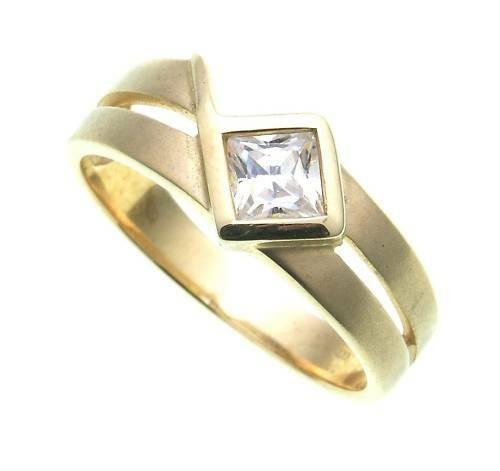 Damen Ring echt Gold 585 Zirkonia Carree matt. Gelbgold Qualität